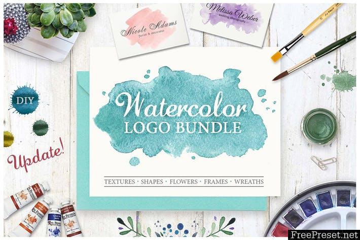 Watercolor Logo Bundle. DIY Z4QAYG - JPG, PNG, PSD