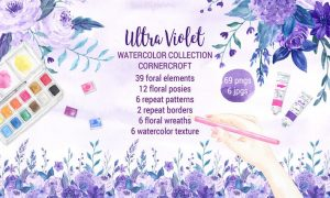Watercolor Ultra Violet Collection 2HH7XD - JPG, PNG
