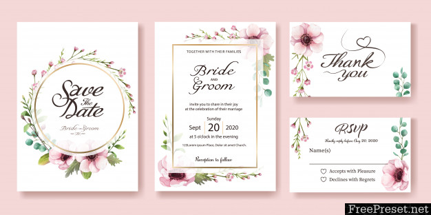Wedding Invitation Card Anemone Flower Watercolor Styles