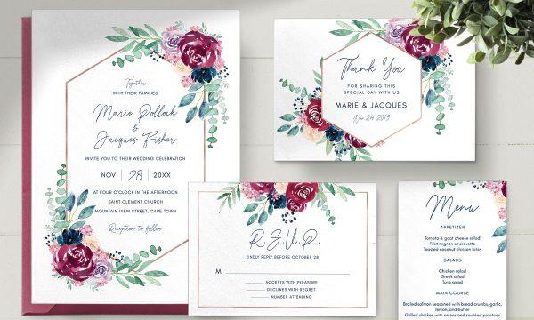 Burgundy Wedding Invitation Set 2573257