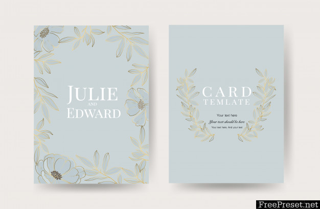 Floral Wedding Invitation Cards Template 4207781