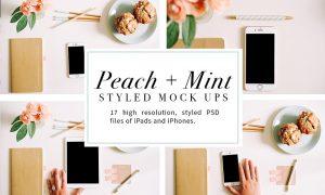 Peach + Mint Styled Tech Mock-Ups 806878