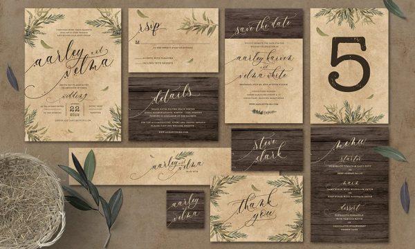 Rustic Wedding Invitation Suite 3445093