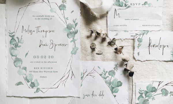 Watercolor Eucalyptus Wedding Suite 3588090