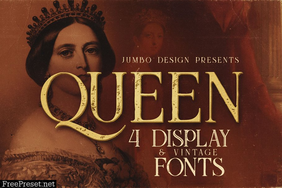 14 Vintage Display Fonts - 76 Fonts 1825087
