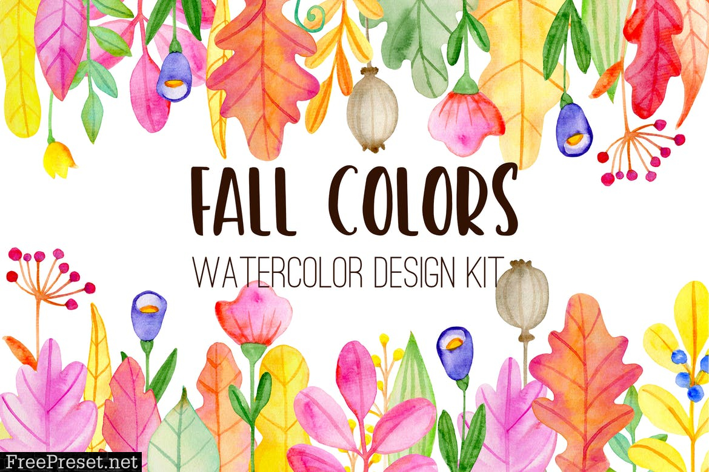 Fall Colors Watercolor Design Kit Bhm896j
