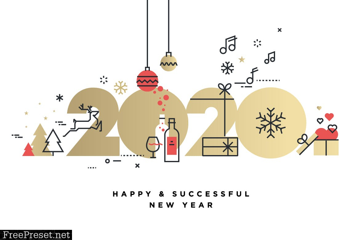 Business Happy New Year 2020 Greeting Card 97456mg