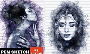 Pen Sketch Photoshop Action XYNGV65