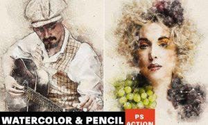 Watercolor & Pencil Photoshop Action QHP4FYL