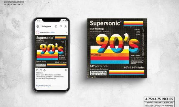 90s Supersonic Party Square Flyer & Social Media VAF3DCD