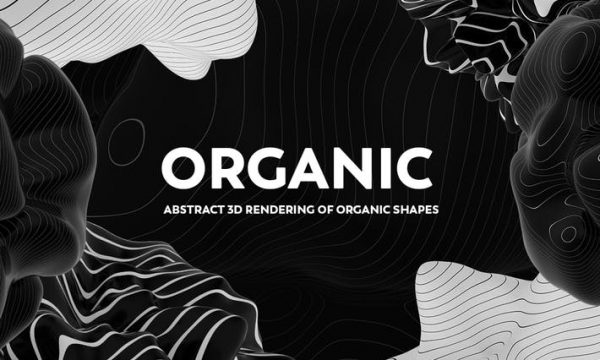 Abstract 3D Rendering of Organic Shapes - B/W RPCHZZP