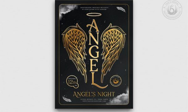 Angels Party Flyer Template V3 ZGXWXNG