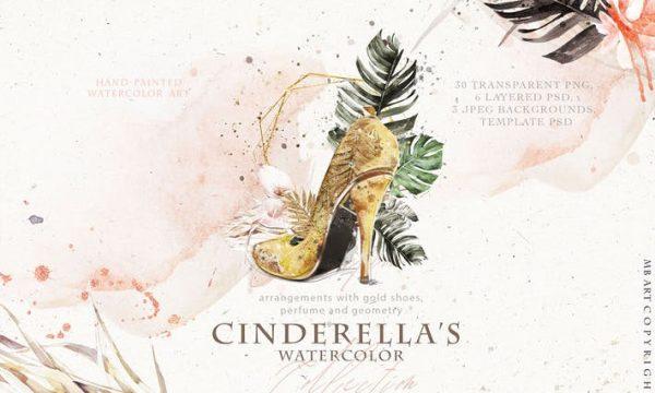 Cinderella's shoe watercolor WEXMABP