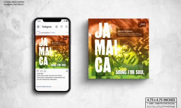 Jamaica Music Square Flyer & Social Media Post 6MQGAMQ