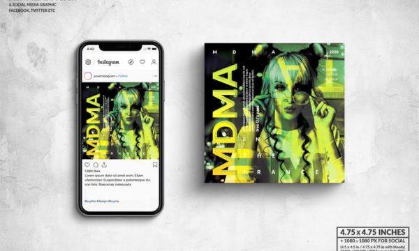 MDMA Music Party Square Flyer & Social Media  H5Q6TJP