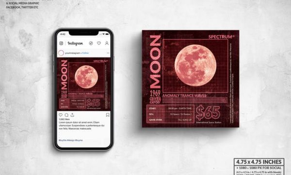Moon Anomaly Music Square Flyer & Social Media ST85RHL