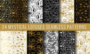 Mystical Lotuses Seamless Patterns Set F9ED9KF