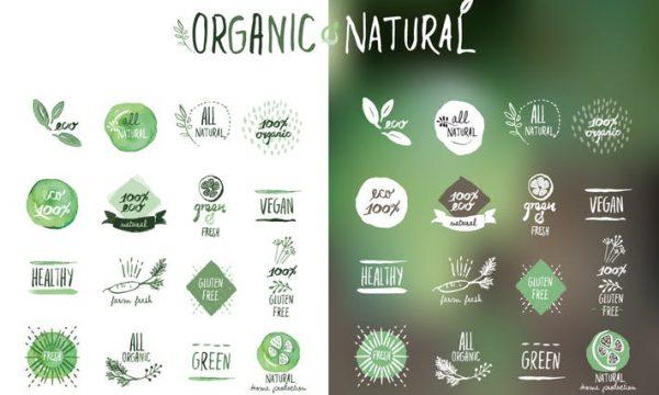 Organic food stickers and badges 3BM3DFJ