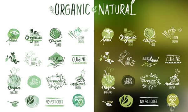 Organic food stickers and badges  HWJNC45
