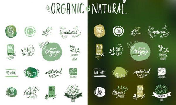 Organic food stickers and badges KV6JWAN