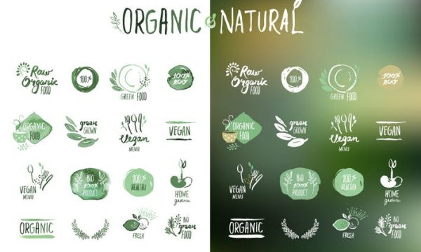 Organic food stickers and badges  WE85VBA