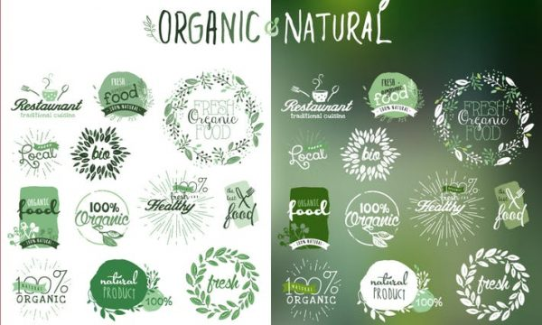 Organic products stickers and badges HYKYV3R