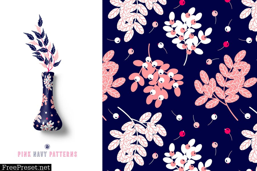 Pink Navy Vector Patterns U4RRPL7