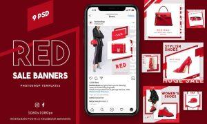 Red Sale Instagram Banners M36YUWD