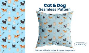 Seamless Pattern Cat Dog Animal J55Q9HM