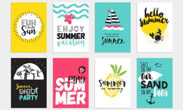 Set of hand drawn summer cards and banners KACVY2J