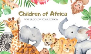Watercolor African animals and plants 4KBYP2X
