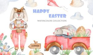 Watercolor Happy Easter WQW6LJK