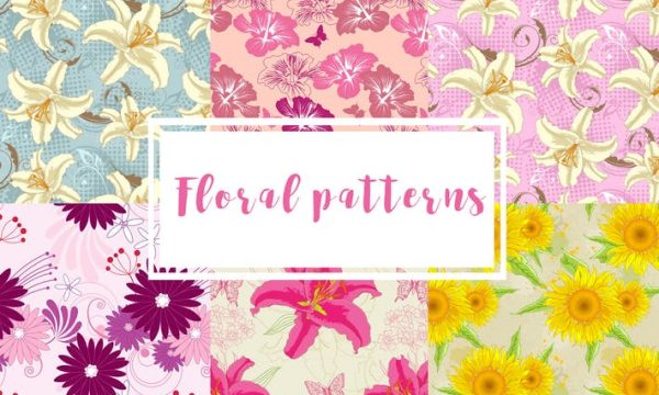 Set of Floral Seamless Patterns BR4NQX