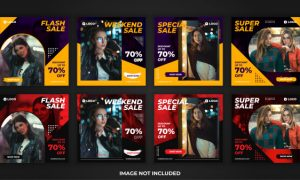 Square  banner fashion sale for social media post promotion template pack