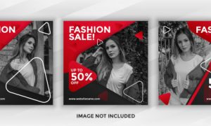 Square  banner fashion sale for social media post template pack