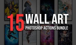15 Wall Art Photoshop Actions Bundle 4828627