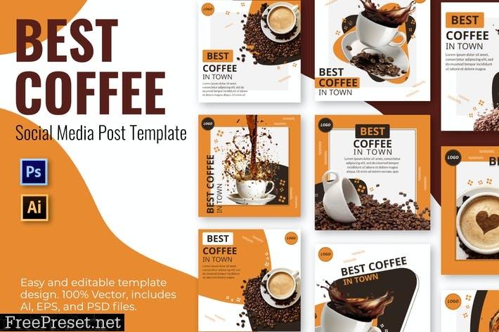 Black Coffee Social Media Template  UQLM9FY