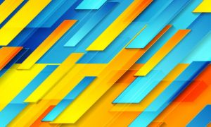 Blue orange glossy tech geometric background 5ETALP7
