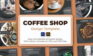 Coffee Shop Social Media Template V82FFXK
