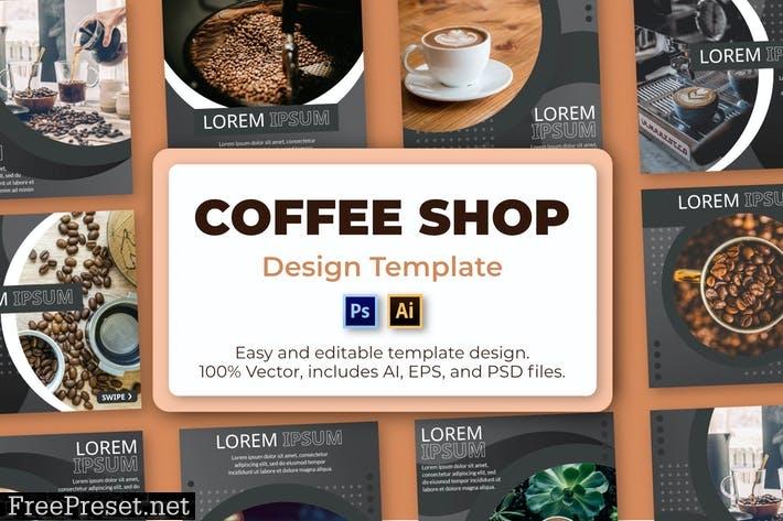 Coffee Shop Social Media Template V82FFXK