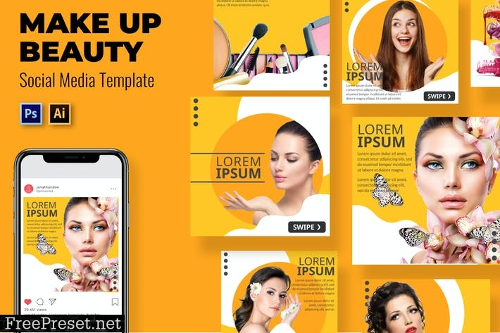 Make Beauty Social Media Template W74WNDR