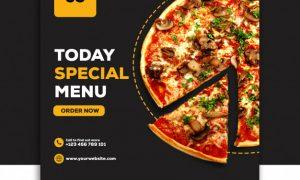 Social media banner post template food special menu pizza