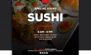 Social media banner post template food special sushi