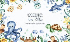 Watercolor Under the sea Clipart Z7XRV46