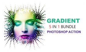 5 in 1 Gradient Photoshop Actions Bundle