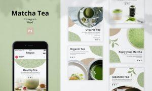 Matcha Tea Instagram Feed Template S2ET6ZR