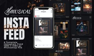 Musical Event Concert Instagram Feed Post Template RBQ3EP8