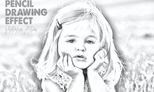 Pencil Drawing Effect for Photoshop RG3Z7S3