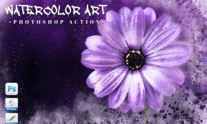 Watercolor Art Photoshop Action 98PAMJJ