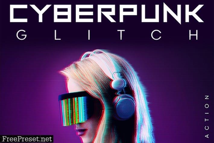 CyberPunk Glitch Photoshop Action 9Z5CVUF